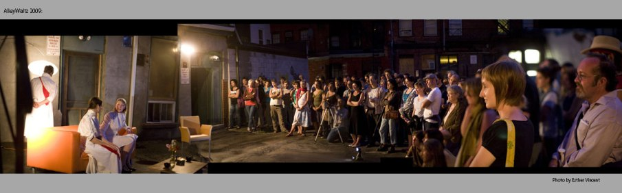 crowd with Sam Sayer &  Anya Gwynn
